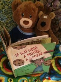 Sammy is reading to Rodney the Reindeer @Hallmark.